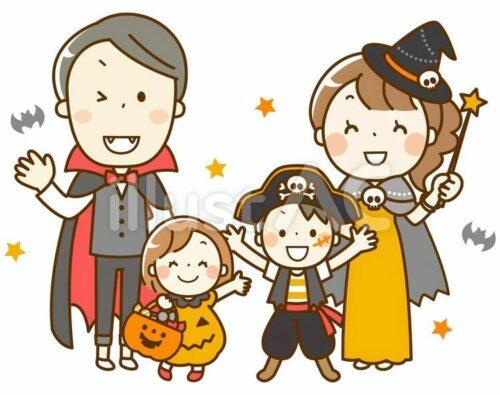 仮装ハロウィンを楽しむ家族のイラスト。 ヴァンパイアの格好したお父さん、魔法使いのコスプレをしたお母さん、海賊のコスプレをした男の子、かぼちゃのドレスを着た女の子のイラスト