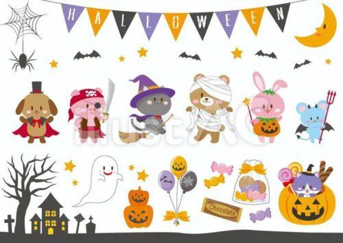 ドラキュラにふんした犬、 海賊の格好した豚、魔法使いの格好した黒猫、ミイラのコスプレをした熊、かぼちゃの服を着たウサギ、悪魔の格好したネズミ、ゴースト、 キャンディー、バルーン、墓場、木