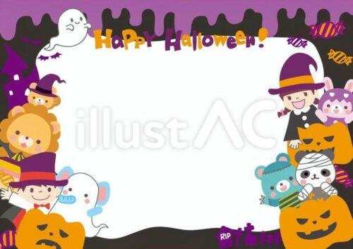 ハロウィンのフレーム。 ライオン、男の子、ゴーストに扮した象、 ジャックオーランタン、女の子、ウサギ、パンダ、水色のクマ。