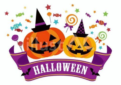 Halloween、ジャック・オー・ランタン、おばけ、こうもり、キャンディーのイラスト