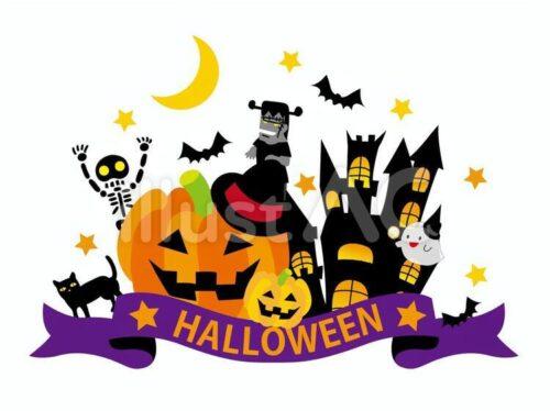 Halloween、ジャック・オー・ランタン、がいこつ、フランケンシュタイン、黒猫、おばけ、音符、カップケーキ、お菓子、キャンディー、ガーランド、フラッグ、クッキーのエンプレム調のイラスト