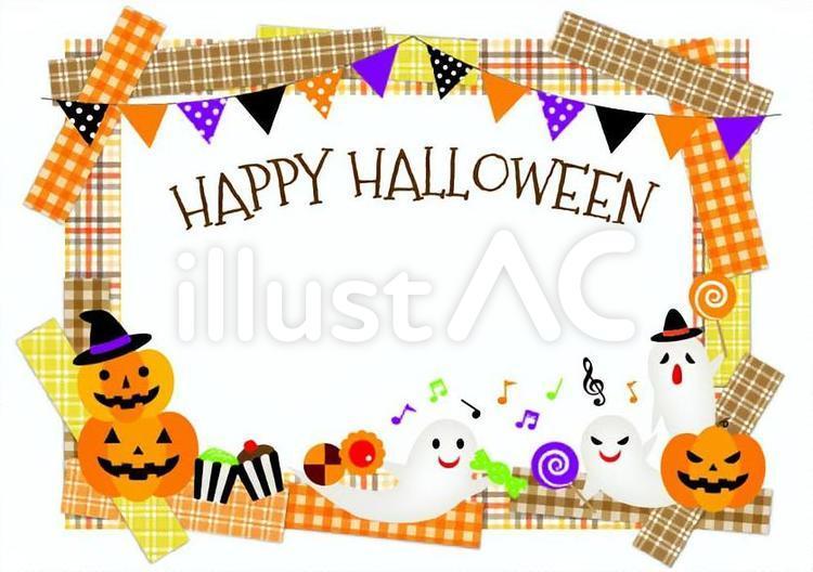 チェック柄のマスキングテープ、ジャック・オー・ランタン、おばけ、音符、カップケーキ、お菓子、キャンディー、ガーランド、フラッグ、クッキーのイラスト