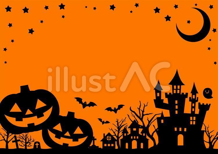 月、星、ジャック・オー・ランタン、お城、こうもり、教会、墓の黒いイラスト