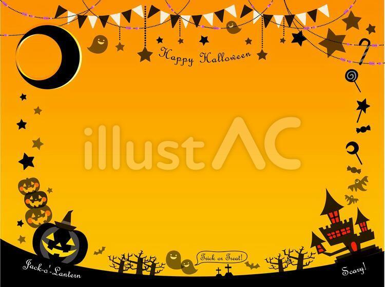 HAPPY HALLOWEEN、月、星、お菓子、ジャック・オー・ランタン5つ、お城、こうもり、教会、墓、ガーランドのイラスト