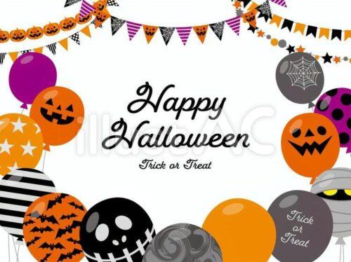 HAPPY Halloween、ジャック・オー・ランタン、おばけ、音符、カップケーキ、お菓子、キャンディー、ガーランド、フラッグ、クッキーのイラスト