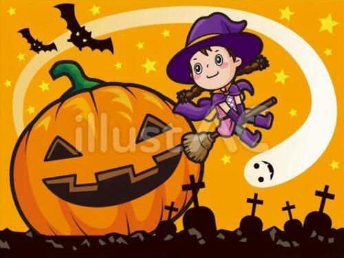 ハロウィンのかぼちゃと魔女とこうもりの一枚絵イラスト