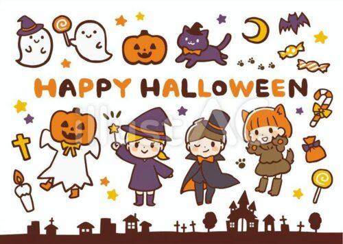 ゴースト、キャンディーを持ったゴースト、かぼちゃ、魔法使いの帽子をかぶった黒猫、月、蝙蝠、キャンディー、ハッピーハロウィン、 かぼちゃをかぶったお化け、魔法使いの格好した女の子、ヴァンパイアの格好した男の子、黒猫の格好した女の子、墓場