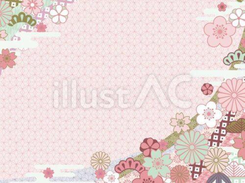 ピンクの麻の葉のパターン背景に牡丹、松竹梅
