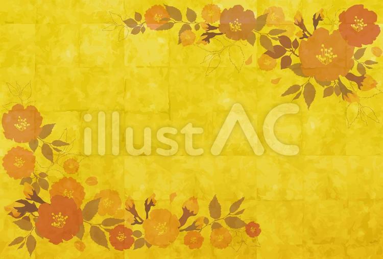 金箔屏風っぽい背景に椿の花