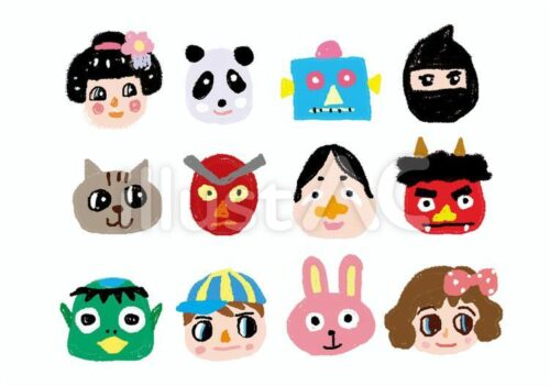 お面。パンダ、ロボット、忍者、ねこ、おかめ、鬼、かっぱ、男の子、うさぎ、女の子のお面
