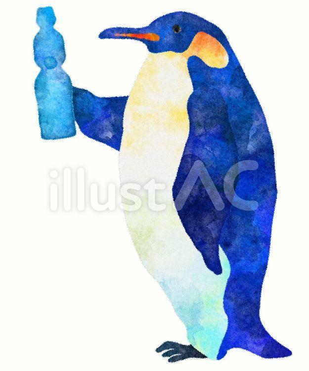 ペンギンがラムネを持っているイラスト