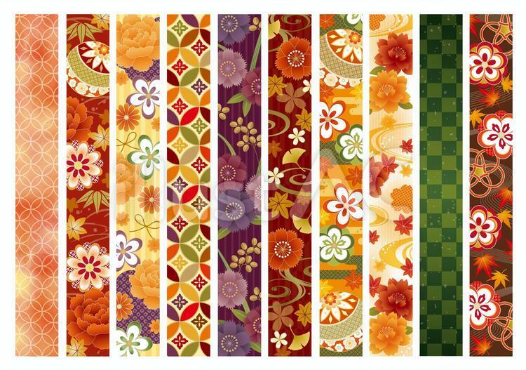 和柄ライン、七宝、市松、紅葉、小紋、流水紋、竹