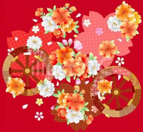 牡丹、 花車、桜の花びら、えんじ色
